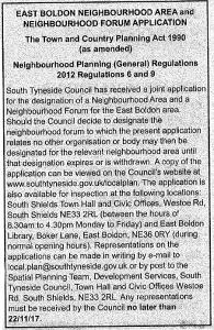 Formal Establishment of the East Boldon Forum